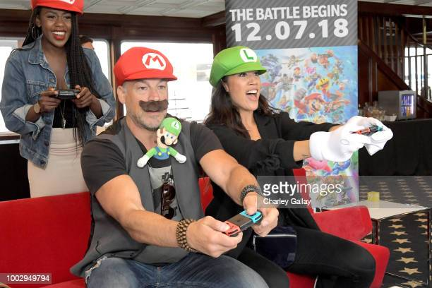 Aleks Paunovic and Jennifer Cheon put their gaming skills to the test playing Mario Kart 8 Deluxe on Nintendo Switch at the Variety Studio at...