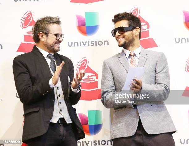 Aleks Syntek and Draco Rosa attend the 14th Annual Latin GRAMMY Awards nominations press conference held at Avalon on September 25 2013 in Hollywood...