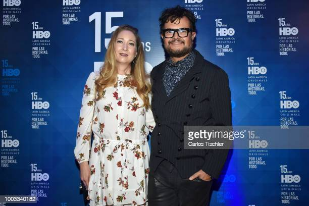 Aleks Syntek poses for photos during the red carpet of HBO Latin America 15 Years Celebration at Soumaya Museum on July 18 2018 in Mexico City Mexico