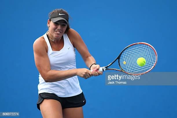 Aleksa Cveticanin of Australia plays a backhand in her first round juniors match against Mira Antonitsch of Austria during the Australian Open 2016...