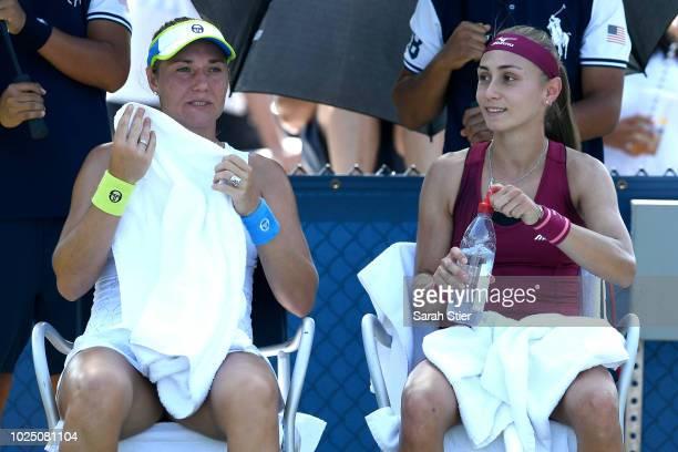 Aleksabnra Krunic of Serbia and Kateryna Bondarenko of Ukraine compete in the women's doubles first round match against Barbora Krejcikova and...