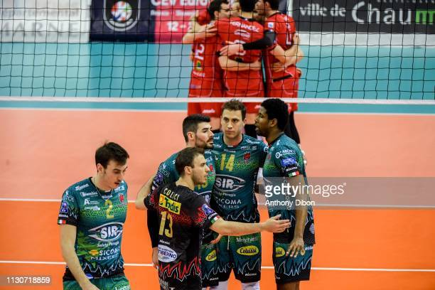 Aleksandar Atanasijevic and team of Perugia celebrate during the CEV Champions League match Chaumont 52 and SIR Safety Perugia on March 14 2019 in...