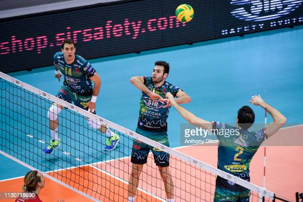 Aleksandar Atanasijevic Luviano De Cecco of Perugia during the CEV Champions League match Chaumont 52 and SIR Safety Perugia on March 14 2019 in...