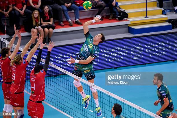 Aleksandar Atanasijevic of Perugia during the CEV Champions League match Chaumont 52 and SIR Safety Perugia on March 14 2019 in Reims France