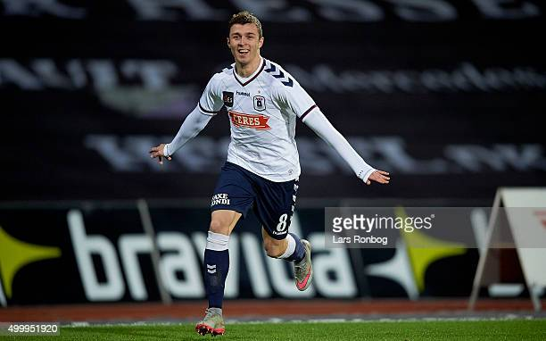 Aleksandar Cavric of AGF Aarhus celebrates after scoring their first goal during the Danish Alka Superliga match between AGF Aarhus and FC...