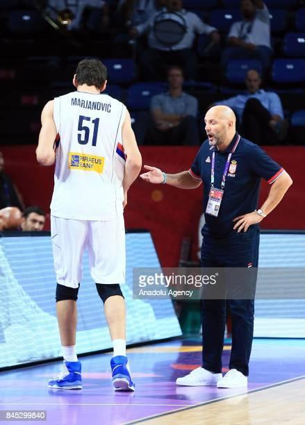 Aleksandar Djordjevic head coach of Serbia speaks to Boban Marjanovic during the FIBA Eurobasket 2017 Round 16 basketball match between Serbia and...