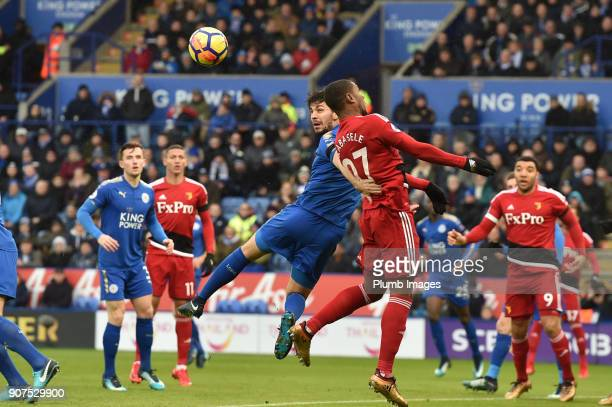 Aleksandar Dragovic clears the danger during the Premier League match between Leicester City and Watford at The King Power Stadium on Jnuary 20th...