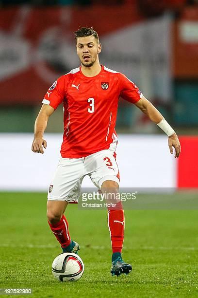 Aleksandar Dragovic of Austria controls the ball during the UEFA EURO 2016 Qualifier between Austria and Liechtenstein at Ernst Happel Stadion on...