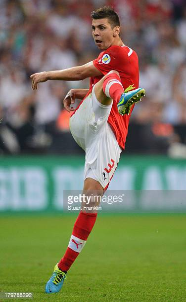 Aleksandar Dragovic of Austria in action during the FIFA 2014 world cup qualifier match between Germany and Austria at the Allianz Arena on September...