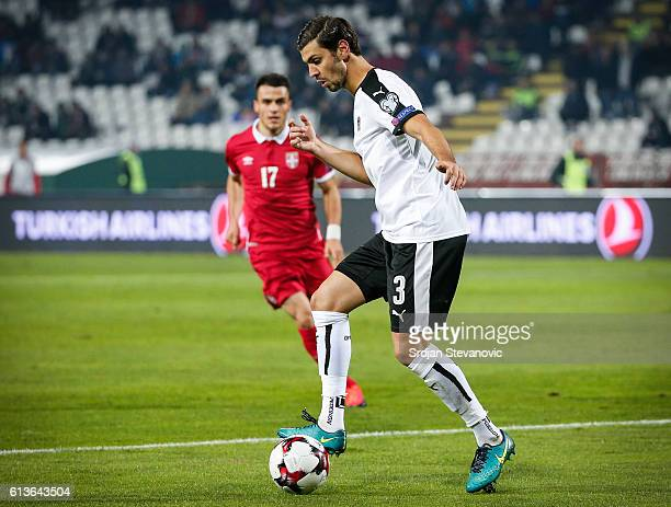 Aleksandar Dragovic of Austria in action during the FIFA 2018 World Cup Qualifier between Serbia and Austria at stadium Rajko Mitic on October 9 2016...