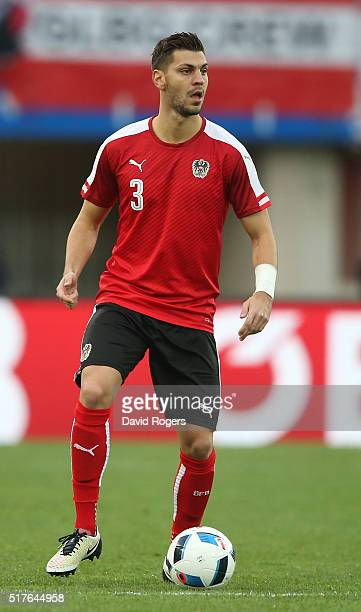 Aleksandar Dragovic of Austria runs with the ball during the international friendly match between Austria and Albania at the ErnstHappelStadion on...
