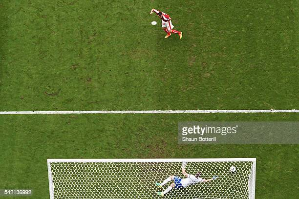 Aleksandar Dragovic of Austria strikes the post with his penalty during the UEFA EURO 2016 Group F match between Iceland and Austria at Stade de...