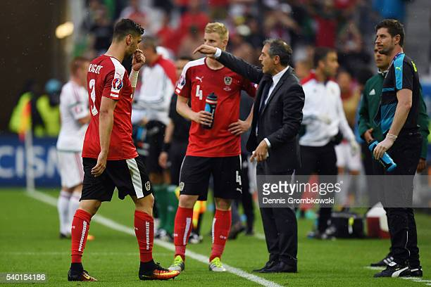 Aleksandar Dragovic of Austria walks off the pitch after sent off during the UEFA EURO 2016 Group F match between Austria and Hungary at Stade Matmut...