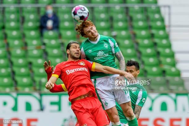 Aleksandar Dragovic of Bayer 04 Leverkusen and Josh Sargent of SV Werder Bremen battle for the ball during the Bundesliga match between SV Werder...