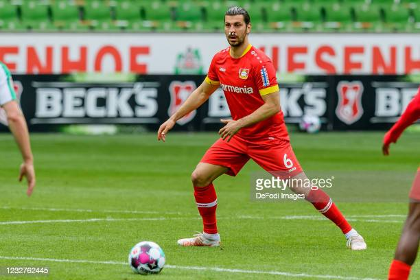 Aleksandar Dragovic of Bayer 04 Leverkusen controls the ball during the Bundesliga match between SV Werder Bremen and Bayer 04 Leverkusen at...