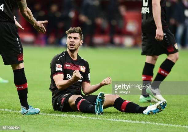 Aleksandar Dragovic of Bayer 04 Leverkusen looks on during the Bundesliga match between Bayer 04 Leverkusen and Bayern Muenchen at BayArena on April...