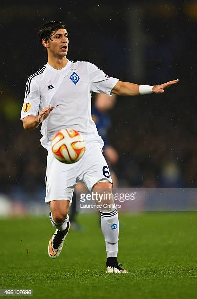 Aleksandar Dragovic of Dynamo Kyiv in action during the UEFA Europa League Round of 16 match between Everton and FC Dynamo Kyiv on March 12 2015 in...