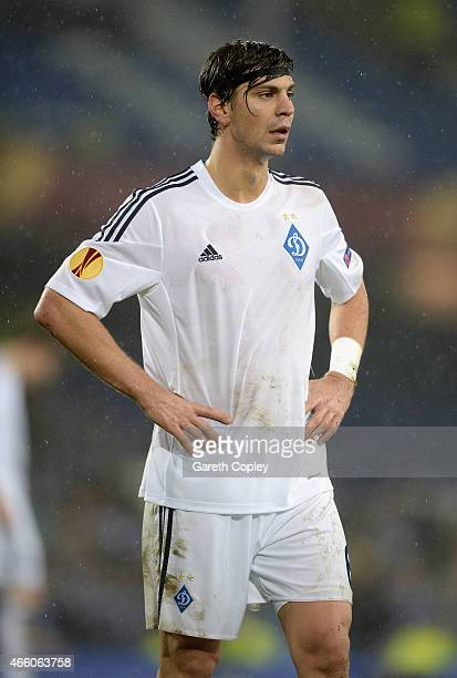 Aleksandar Dragovic of FC Dynamo Kyiv during the UEFA Europa League Round of 16 match between Everton FC and FC Dynamo Kyiv on March 12 2015 in...