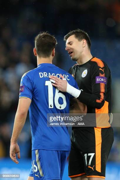 Aleksandar Dragovic of Leicester City and Eldin Jakupovic of Leicester City during the Premier League match between Leicester City and Arsenal at The...