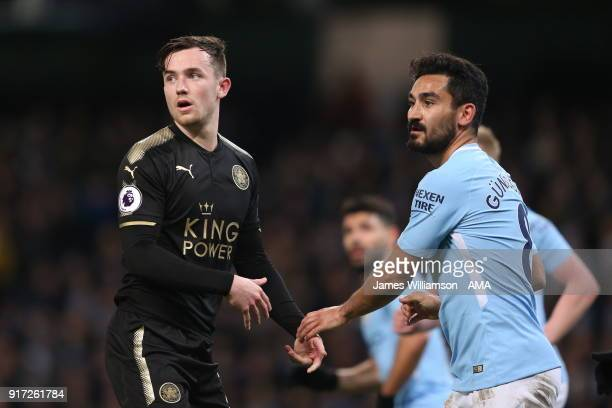 Aleksandar Dragovic of Leicester City and Ilkay Gundogan of Manchester City during the Premier League match between Manchester City and Leicester...