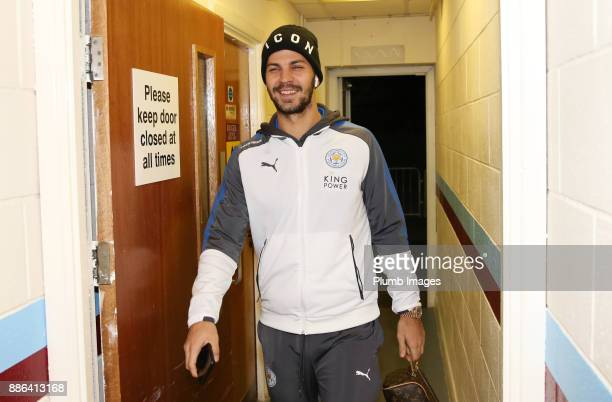 Aleksandar Dragovic of Leicester City arrives at Glanford Park ahead of the Checkatrade Trophy tie between Scunthorpe United and Leicester City at...