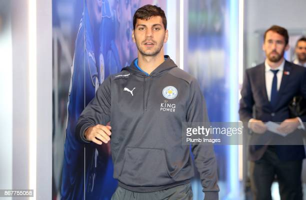 Aleksandar Dragovic of Leicester City arrives at King Power Stadium ahead of the Premier League match between Leicester City and Everton at King...
