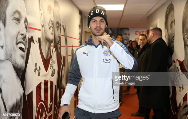 Aleksandar Dragovic of Leicester City arrives at St Mary's Stadium ahead of the Premier League match between Southampton and Leicester City at St...