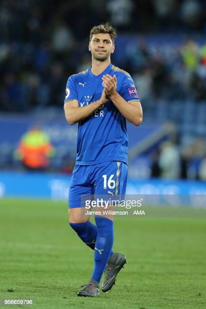 Aleksandar Dragovic of Leicester City during the Premier League match between Leicester City and Arsenal at The King Power Stadium on May 9 2018 in...