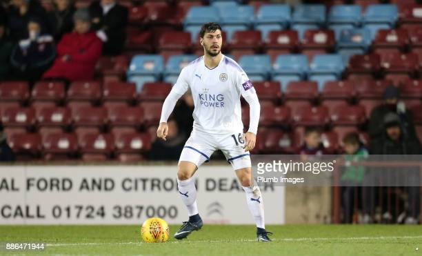 Aleksandar Dragovic of Leicester City in action during the Checkatrade Trophy tie between Scunthorpe United and Leicester City at Glanford Park on...