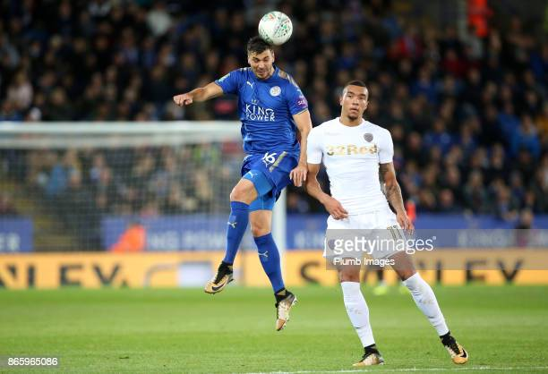 Aleksandar Dragovic of Leicester City in action with JayRoy Grot of Leeds United during the Carabao Cup fourth round match between Leicester City and...