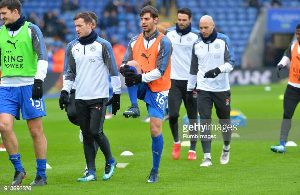 Aleksandar Dragovic of Leicester City warms up at King Power Stadium ahead of the Premier League match between Leicester City and Swansea City at...
