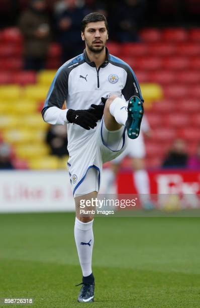 Aleksandar Dragovic of Leicester City warms up at Vicarage Road ahead of the Premier League match between Watford and Leicester City at Vicarage Road...