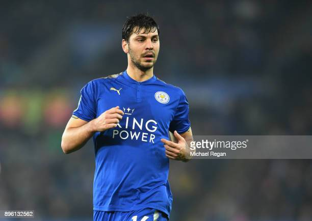 Aleksandar Dragovic of Leicester looks on during the Carabao Cup QuarterFinal match between Leicester City and Manchester City at The King Power...