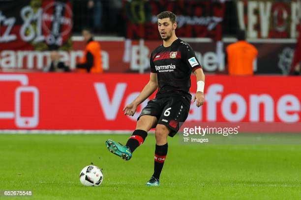 Aleksandar Dragovic of Leverkusen controls the ball during the Bundesliga soccer match between Bayer Leverkusen and Werder Bremen at the BayArena...