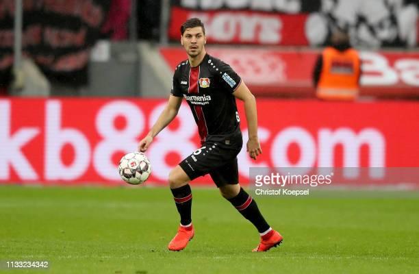 Aleksandar Dragovic of Leverkusen runs with the ball during the Bundesliga match between Bayer 04 Leverkusen and SportClub Freiburg at BayArena on...