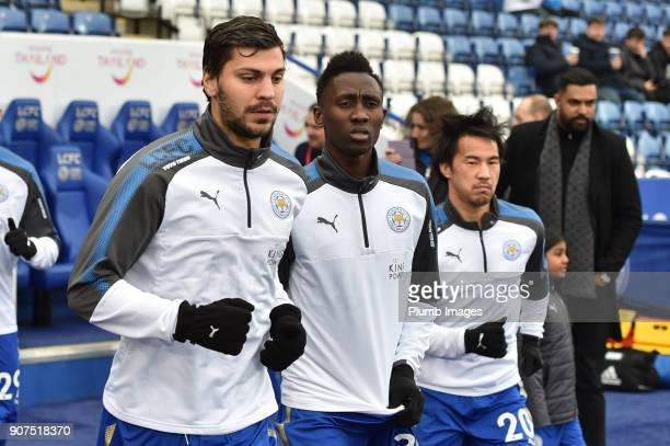 Aleksandar Dragovic Wilfred Ndidi and Shinji Okazaki of Leicester City before the Premier League match between Leicester City and Watford at The King...