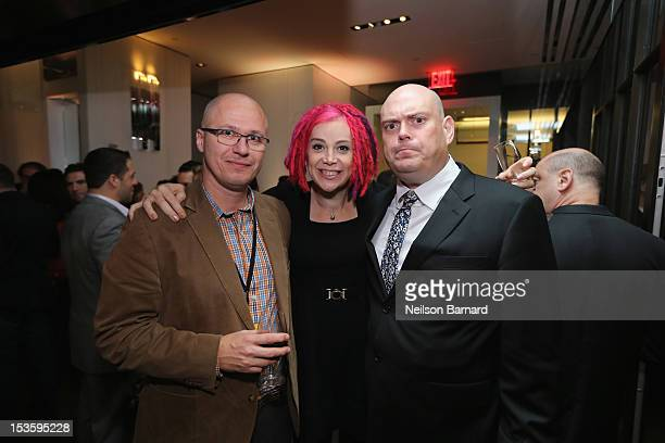 Aleksandar Hemon Lana Wachowski and Andy Wachowski attend The New Yorker Festival 2012 Party at Andaz 5th Avenue on October 7 2012 in New York City