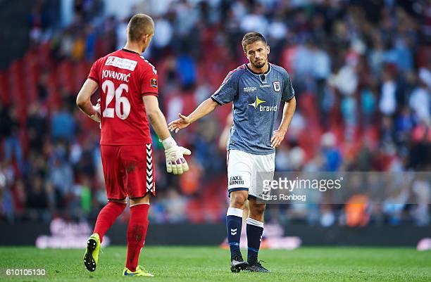 Aleksandar Jovanovic and Alexander Juel Andersen of AGF Aarhus looks dejected after the Danish Alka Superliga match between FC Copenhagen and AGF...