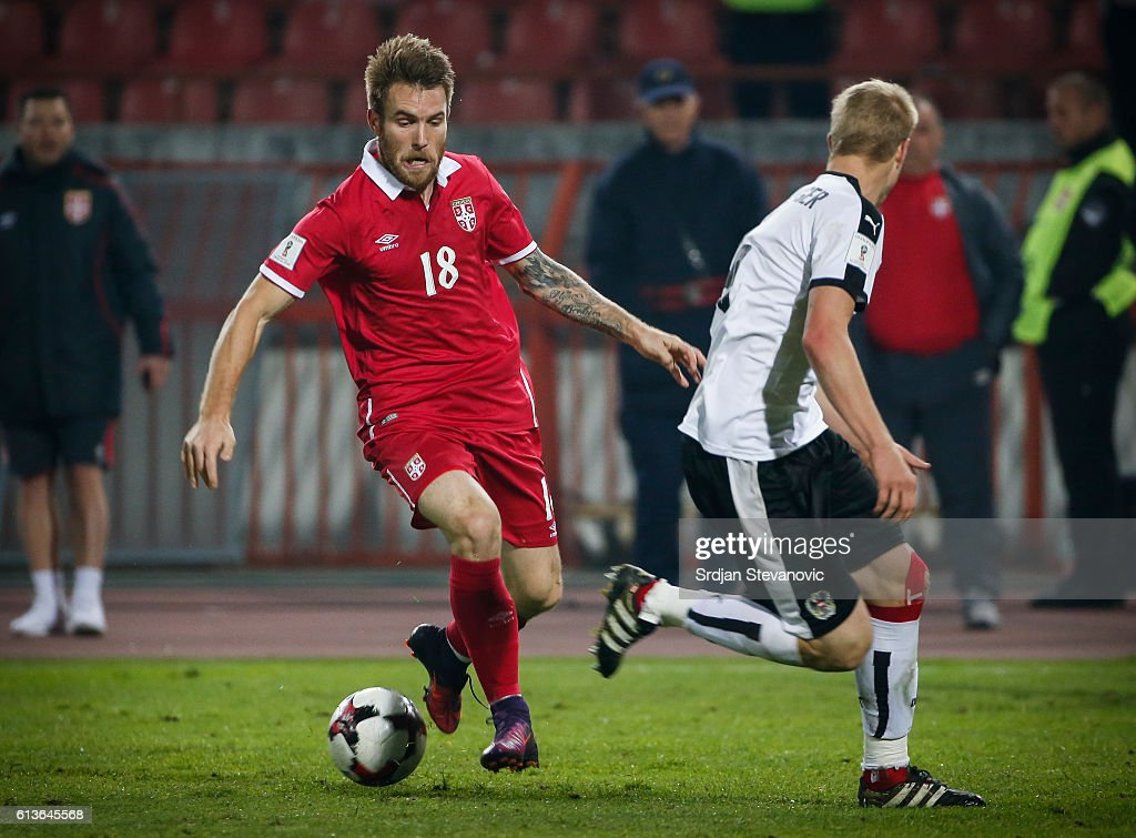 Aleksandar Katai (L) of Serbia in action during the FIFA 2018 World Cup Qualifier between Serbia and Austria at stadium Rajko Mitic on October 9, 2016 in Belgrade, .