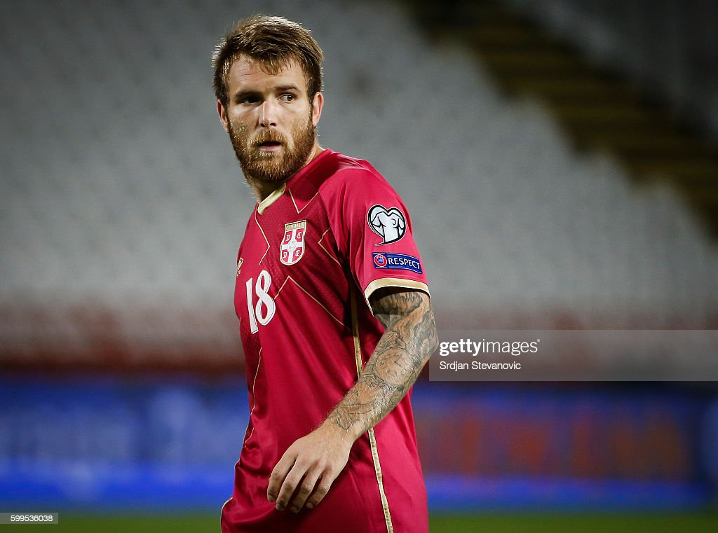 Aleksandar Katai of Serbia looks on during the FIFA 2018 World Cup Qualifier between Serbia and Ireland at stadium Rajko Mitic on September 5, 2016 in Belgrade.