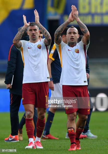 Aleksandar Kolarov and Radja Nainggolan of AS Roma celebrate the victory after the serie A match between Hellas Verona FC and AS Roma at Stadio...