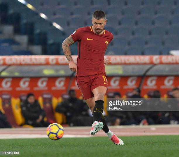 Aleksandar Kolarov celebrates after scoring a goal during the Italian Serie A football match between AS Roma and Benevento at the Olympic Stadium in...