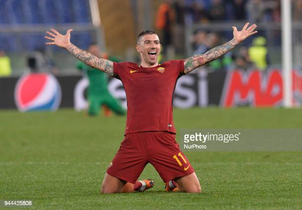 Aleksandar Kolarov celebrates during the UEFA Champions League quarter final match between AS Roma and FC Barcelona at the Olympic stadium on April...