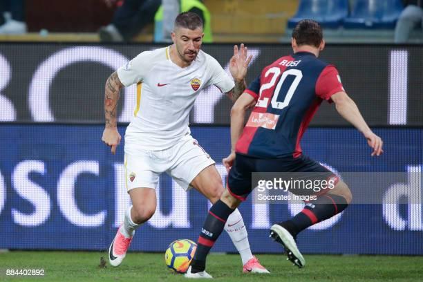 Aleksandar Kolarov of AS Roma Aleandro Rosi of Genua during the Italian Serie A match between Genoa v AS Roma at the Stadio Luigi Ferraris on...
