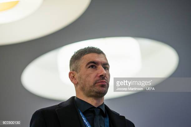 Aleksandar Kolarov of AS Roma arrives to the stadium prior to the UEFA Champions League Round of 16 First Leg match between Shakhtar Donetsk and AS...