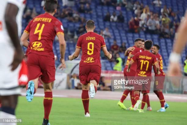 Aleksandar Kolarov of As Roma celebrates after scoring a goal during the Serie A match between AS Roma and Genoa at Olimpico Stadium