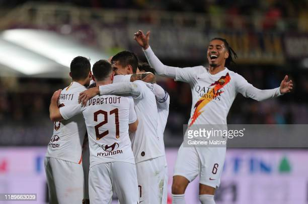 Aleksandar Kolarov of AS Roma celebrates after scoring a goal during the Serie A match between ACF Fiorentina and AS Roma at Stadio Artemio Franchi...