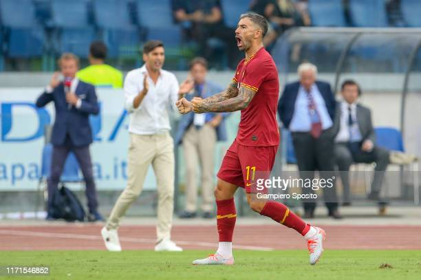 Aleksandar Kolarov of AS Roma celebrates after scoring a goal from the penalty spot during the Serie A match between SS Lazio and AS Roma at Stadio...
