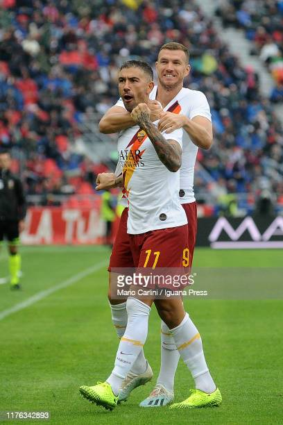 Aleksandar Kolarov of AS Roma celebrates after scoring the opening goal during the Serie A match between Bologna FC and AS Roma at Stadio Renato...