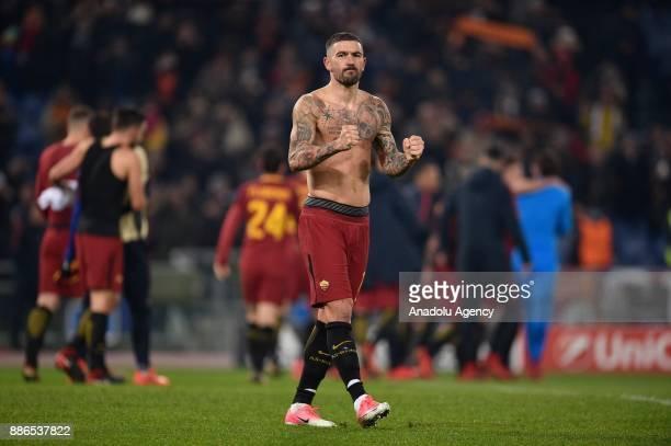 Aleksandar Kolarov of AS Roma celebrates after the UEFA Champions League Group C soccer match between AS Roma and Qarabag FK at Stadio Olimpico on...